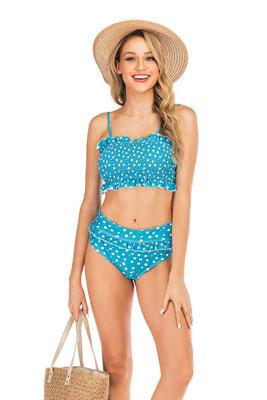 #9. EJsoyo Bandeau Bikini Women's High Waist Flounce Swimsuits