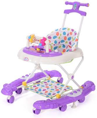 #7. Y-Walker Foldable Infant Walker Toddler Swing Stand Learning Stroller w/Activity Tray (Purple)