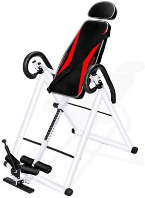 #8. HAIPHAIK Withstand 350 Lbs. Weight Adjustable Inversion Table for Relieving Back Pain
