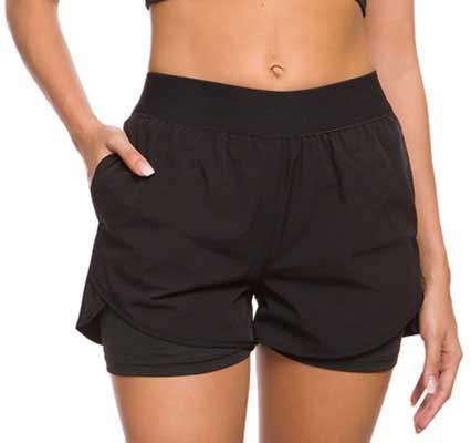 #7. Custer's Night Double Layer Elastic Waistband 2-in-1 Women's Fitness Shorts