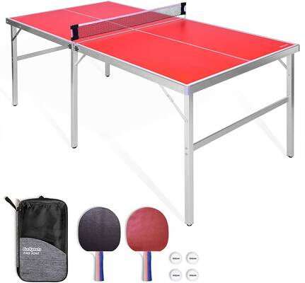 #10. GoSports Mid-Size Indoor Outdoor Portable Table Tennis Game w/Net 2 Table & 4 Balls