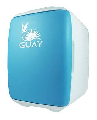 #5. Guay 4L/6 Can AC/DC Portable Thermo-Electric Mini Fridge Cooler & Warmer (Blue)