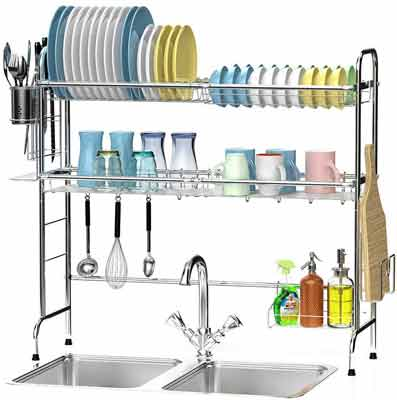 #8. Ace Teah 2 Tier 34'' x 32'' Easy-Assembling Over-the-Sink Stainless Steel Dish Drainer