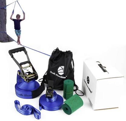 #5. Gentle Booms Sports Ninja Warrior 56 ft. Kids Slackline Hanging Obstacle Course Set