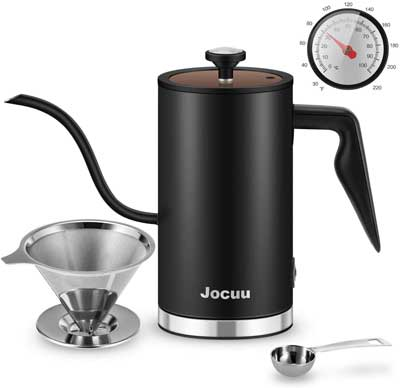 #3. Jocuu Gooseneck 1/2L Stainless Steel Thermometer & Status Indicator Electric Hot Water Kettle