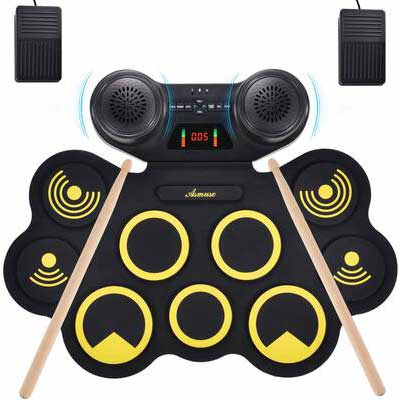 3. Asmuse Portable Drum Set with Bluetooth Function
