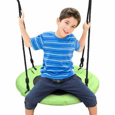 10. Odoland 24'' Green Round Swing Set Outdoor Backyard Children Saucer Tree Swing