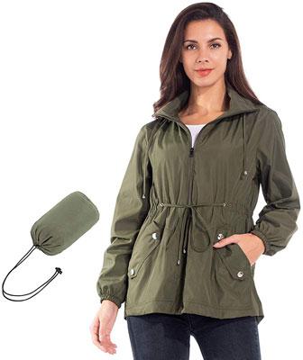 #5. JTANIB Windbreaker Packable Active Women's Lightweight Hooded Outdoor Rain Jacket