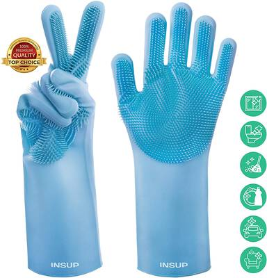 #3. INSUP Premium Dishwashing Gloves with Bristles