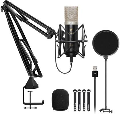 3. TONOR TC-2030 Upgraded USB Cardioid Computer Mic Kit w/24mm Diaphragm for Streaming