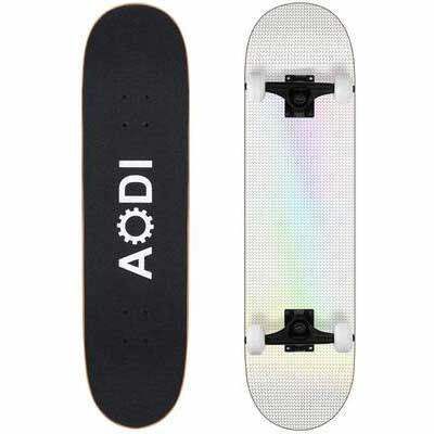 2. AODI 7 Layer Maple Wood Kick Standard Complete Skateboard for Adults, Girls & Teens