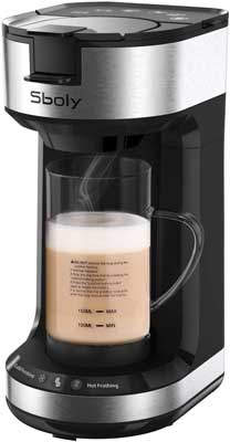1.Sboly Single Serve Milk Frother and Coffee Maker, 20 oz Glass Frothing Mug