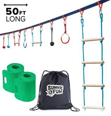 #4. Sunny & Fun Portable 50 ft. Ninja Slackline Monkey Bar & Ladder Kit w/Carry Bag