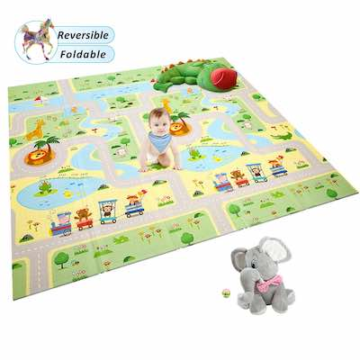 #7. Moroly Non-Toxic Play Mat for Toddlers' Outdoor & Indoor Use (Green Forest)