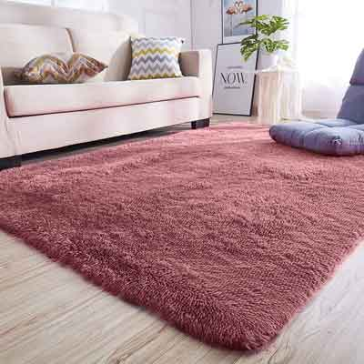 #6. Junovo Rectangle Fluffy Carpets for Living Room and Bedroom, Blush