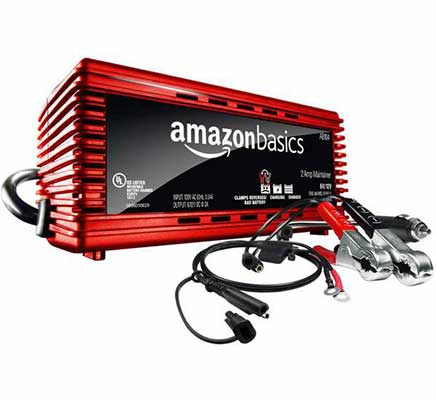 10. AmazonBasics Compatible w/Lead Acid Absorbed Glass Mat Battery Charger 12V 2A
