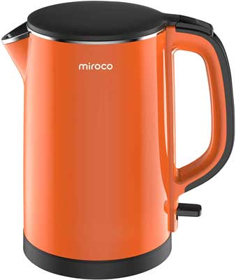 #4. Miroco Double Wall Stainless Steel 1500W Overheating Protection Electric Kettle