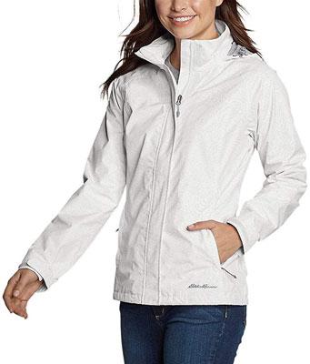 #2. Eddie Bauer Women's Adjustable Showable Rain foil Universal Fit Packable Jacket