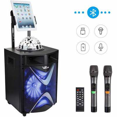 4. VeGue 10Inch SubWoofer Bluetooth Disco Ball 2 UHF Wireless Microphones for Kids & Adults