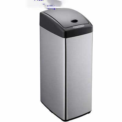 #10. Simple-Magic 79208 13 Gallon Square Stainless Steel Fingerprint-Proof Sensor Trash Can