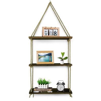#8.Besse Jute Rope 3-Tier Wall Swing Storage Shelves for Living Room, Bathroom & Kitchen (Brown)