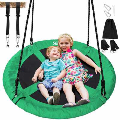 8. Sunkorto Green 600lbs Round Indoor & Outdoor Steel Frame Flying Saucer Tree Swing