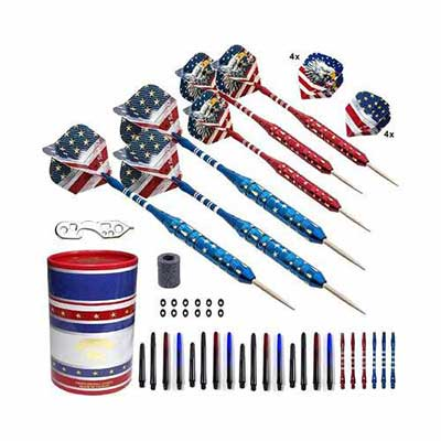 #5. SHOT TAKER CO.EST USA American Flag & Patriotic Bald Professional Darts w/Plastic Shafts