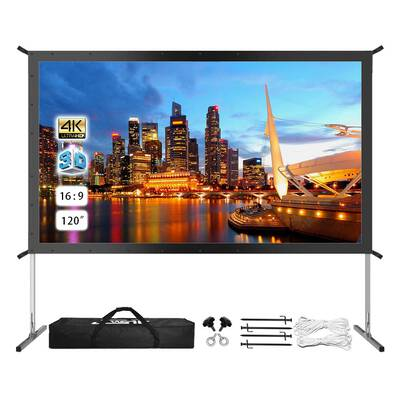 #8. JWSIT 4K HD Outdoor or Indoor Projector Screen with carrying Bag and Stand