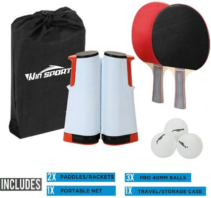 #9. Win SPORTS Paddle Set with a Retractable Net and a Storage Case