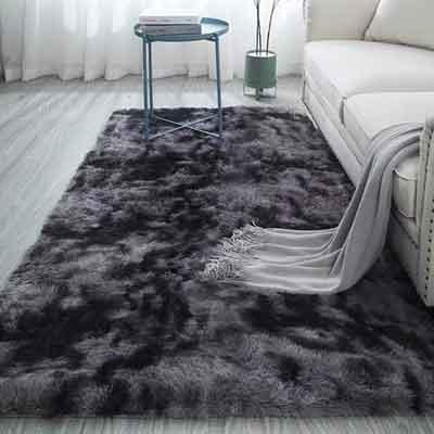 #7. Rainlin Ultra Soft Tie-dye Carpets for a Living Room, Grey