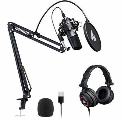 2. MAONO AU-A04H Vocal Condenser Cardioid USB Microphone w/Studio Headphone Set