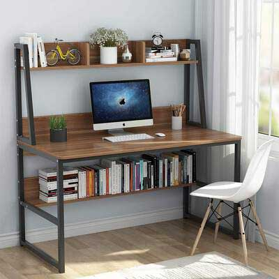 #2. Tribesigns 47'' Hutch & Bookshelf Home Office Desk with Space Saving Design (Retro Brown)