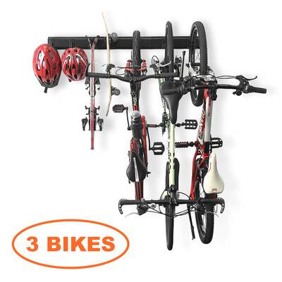 #7. Wallmaster Bike Wall Mount 3 Bicycles Storage Rack with Hooks System