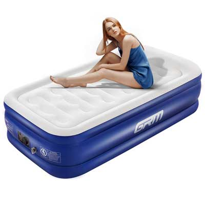 Single Airbed Quick Inflation Outdoor Trips Camping Air Bed Mattress Flocked
