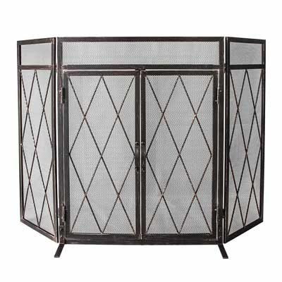 Open Haarden Accessoires Fireplace Screen Protector Cover 3 Panel Pewter Wrought Iron Decorative Mesh New Huis Tecnomira Com Br