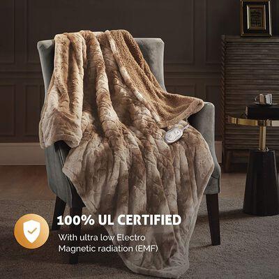 3. Hyde Lane 3 Heat Settings Auto-Shut-Off Machine Washable Oversized Soft Sherpa Heated Blanket
