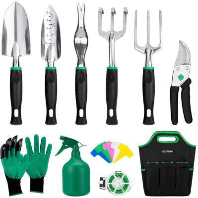 5. GIGALUMI 11-Pcs Heavy-Duty Aluminum Outdoor Hand Tools w/Pruners, Trowel, etc.