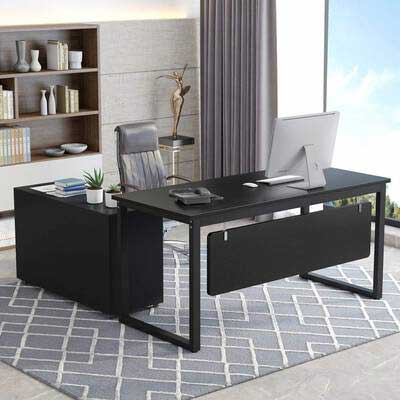 #8. Tribesigns L-Shaped 55'' Large Modern Executive Computer Desk with File Cabinet & Shelves (Black)