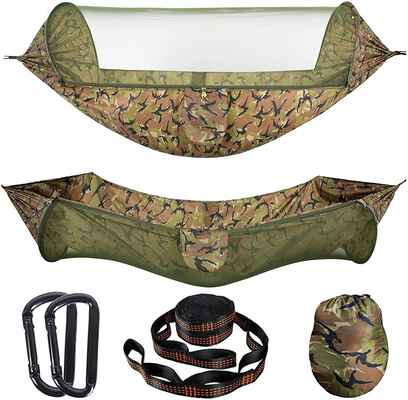 5. AMZQJD Camping Hammock with an Automatic Mosquito Net (Camouflage)