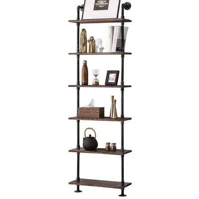 #1. BOSURU Industrial Pipe Rustic Wood Ladder Wall Mounted Shelf for House Décor & Storage