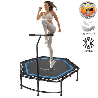 """#9. SereneLife 48"""" Indoor Fitness with Adjustable Handrail & Safety Pad Fitness Trampoline Rebounder"""