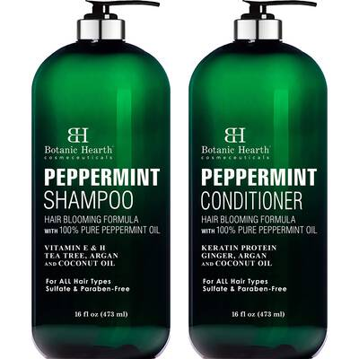 #5. Botanic Hearth 2 16 Fl. Oz. Hair Blooming Formula Peppermint Oil Shampoo & Conditioner Set