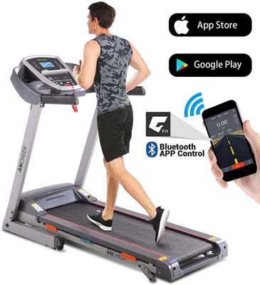 #8. ANCHEER 3.0 HP Bluetooth LCD Folding with App Control Motorized Treadmill