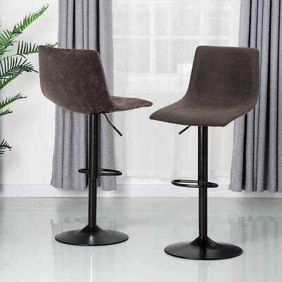 3. ALPHA HOME 350 Pounds Set of 2 Complete Swivel Counter Barstools Adjustable Height (Brown)