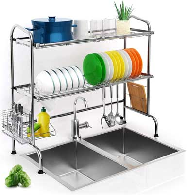 #9. iBesi 2-Tier Drainer-Shelf Utensil Holder Kitchen Countertop Over-the-Sink Drying Rack