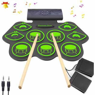 9. KONIX Bluetooth Electronic Drum Set for Kids (green)