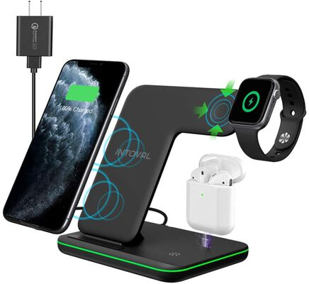 4. Intoval True 3-in-1 Qi-Certified Wireless Charging Stand for iPhone 11/12/Pro/Max