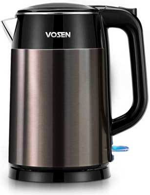 #7. VOSEN 1.7L Double Wall Stainless Steel 1500W Fast Boiling BPA-Free Electric Kettle
