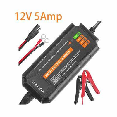9. KUFUNG 12V 5A Deep Cycle Battery Maintainer Trickle Charger for Car Boat & Automotive