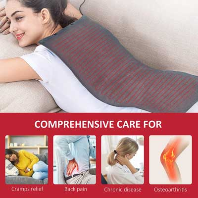 #7. COMFIER 3 Heating Levels Machine Washable Ultra-Soft Plush Heating Pad for Back pain Relief
